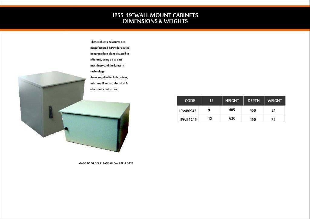 IP55 Wall Mount cabinets dimension and weights